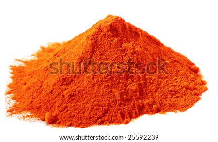 spices - pile of Red Coloring Food over white