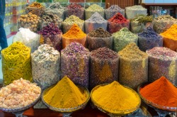Spices put up for sale at one of the stands at the Dubai market.