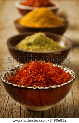 Spices Saffron,turmeric,curry
