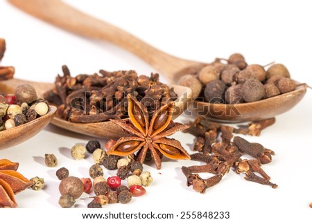 Spices. Spice in Wooden spoon. Herbs. Curry, Saffron, turmeric, cinnamon and other isolated on a white background. Pepper. Large collection of different spices and herbs isolated on white