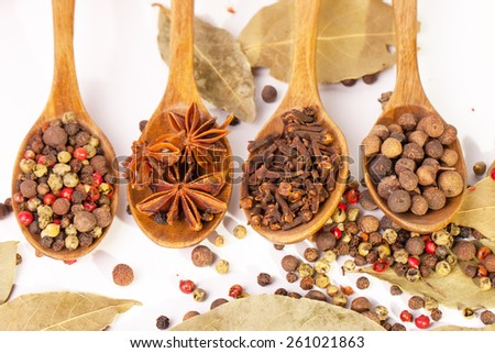 Spices. Spice in Wooden spoon. Herbs. Curry, Saffron, turmeric, cinnamon and other isolated on a white background. Pepper. Large collection of different spices and herbs isolated on white background