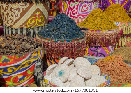 Spices spices seasoning seafood in an east egyptian bazaar
