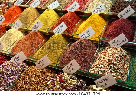 Spices stall in the Spice Market, Istanbul, Turkey