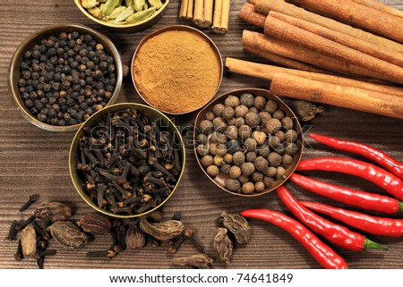 Spices - top shot of whole various kinds background