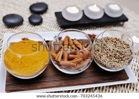 spices - turmeric, star anise, cinnamon, cloves, allspice Spa. Aromatherapy, stone therapy. #703245436