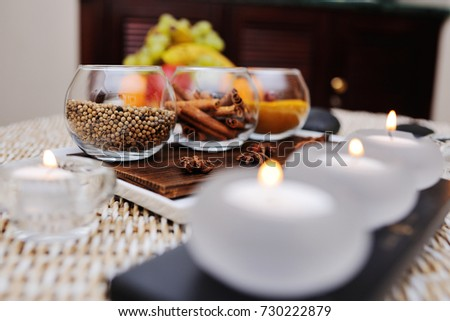 spices - turmeric, star anise, cinnamon, cloves, allspice Spa. Aromatherapy, stone therapy. #730222879