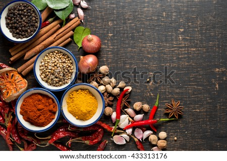 spices with ingredients on dark background. healthy or cooking concept,  asian food #433313176