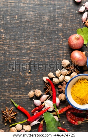 spices with ingredients on dark background. healthy or cooking concept,  asian food #446474725