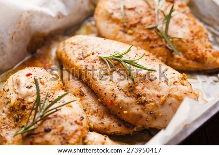 Spicy baked chicken breast with rosemary