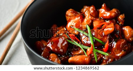 spicy chicken in sweet and sour sauce with chili pepper, Asian cuisine, Chinese cuisine, Thai cuisine, soy sauce #1234869562