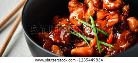 spicy chicken in sweet and sour sauce with chili pepper, Asian cuisine, Chinese cuisine, Thai cuisine, soy sauce #1235449834