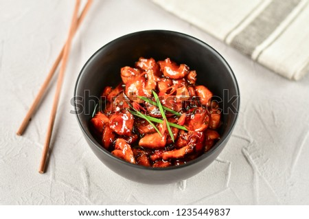 spicy chicken in sweet and sour sauce with chili pepper, Asian cuisine, Chinese cuisine, Thai cuisine, soy sauce #1235449837