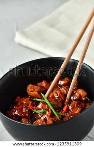 spicy chicken in sweet and sour sauce with chili pepper, Asian cuisine, Chinese cuisine, Thai cuisine, soy sauce #1235911309
