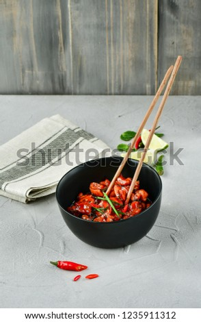 spicy chicken in sweet and sour sauce with chili pepper, Asian cuisine, Chinese cuisine, Thai cuisine, soy sauce #1235911312
