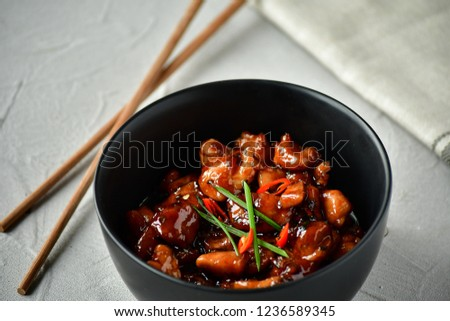spicy chicken in sweet and sour sauce with chili pepper, Asian cuisine, Chinese cuisine, Thai cuisine, soy sauce #1236589345