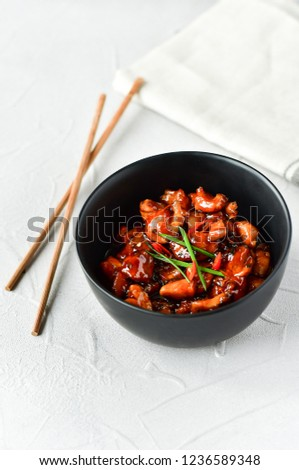 spicy chicken in sweet and sour sauce with chili pepper, Asian cuisine, Chinese cuisine, Thai cuisine, soy sauce #1236589348