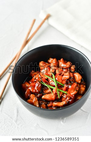 spicy chicken in sweet and sour sauce with chili pepper, Asian cuisine, Chinese cuisine, Thai cuisine, soy sauce #1236589351