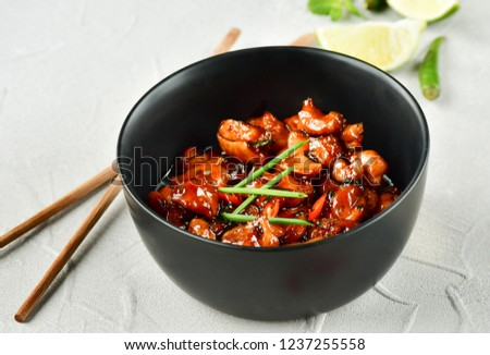 spicy chicken in sweet and sour sauce with chili pepper, Asian cuisine, Chinese cuisine, Thai cuisine, soy sauce #1237255558