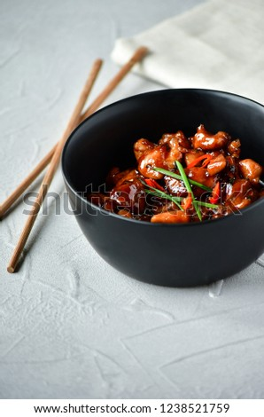 spicy chicken in sweet and sour sauce with chili pepper, Asian cuisine, Chinese cuisine, Thai cuisine, soy sauce #1238521759