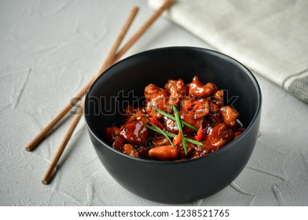 spicy chicken in sweet and sour sauce with chili pepper, Asian cuisine, Chinese cuisine, Thai cuisine, soy sauce #1238521765