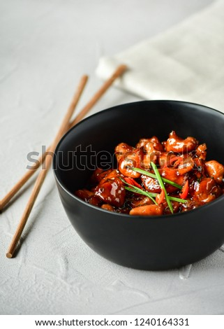 spicy chicken in sweet and sour sauce with chili pepper, Asian cuisine, Chinese cuisine, Thai cuisine, soy sauce #1240164331
