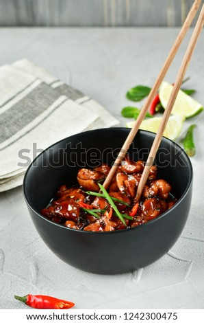 spicy chicken in sweet and sour sauce with chili pepper, Asian cuisine, Chinese cuisine, Thai cuisine, soy sauce #1242300475