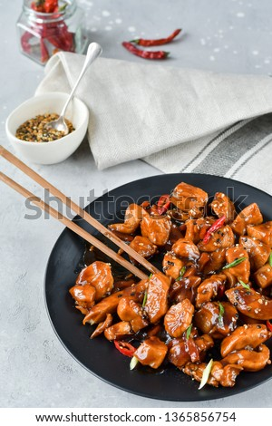 spicy chicken in sweet and sour sauce with chili pepper, Asian cuisine, Chinese cuisine, Thai cuisine, soy sauce. #1365856754