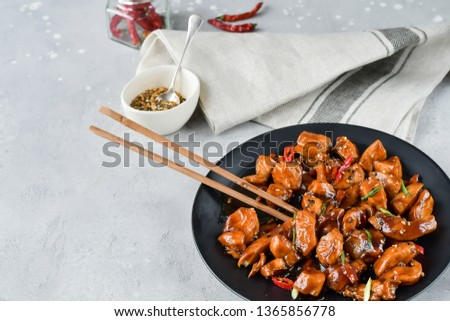 spicy chicken in sweet and sour sauce with chili pepper, Asian cuisine, Chinese cuisine, Thai cuisine, soy sauce. #1365856778