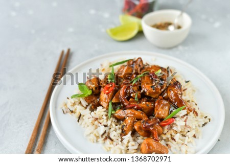 spicy chicken in sweet and sour sauce with chili pepper, Asian cuisine, Chinese cuisine, Thai cuisine, soy sauce