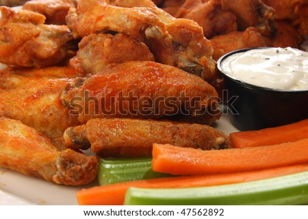 Spicy chicken wings. Also available in vertical.