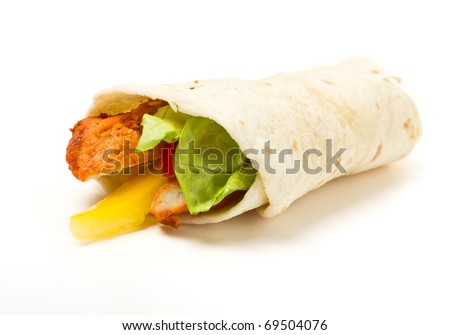 Spicy chicken with salad and salsa wrapped in a soft flour tortilla.