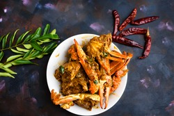 Spicy chili crab curry, a famous seafood dish in sri Lanka, India and Singapore.