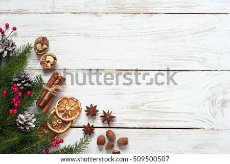 Spicy Christmas background. ingredients for cooking baking. Flat lay with copy space.