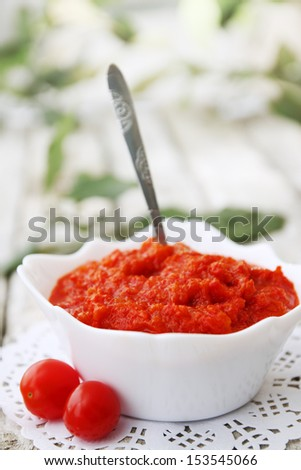 Spicy chutney with sweet pepper and  chili