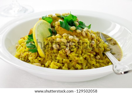Spicy dish of indian rice with chicken