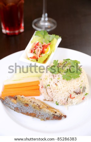 Spicy fried rice with fish