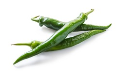 spicy green pepper on white isolated background