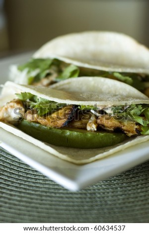 Spicy Grilled Fish Taco with Chipotle Lime Dressing on a White Corn Tortilla