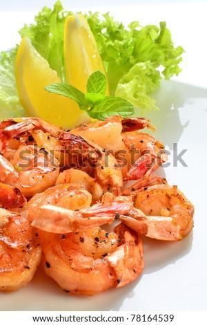 Spicy grilled prawns - stock photo