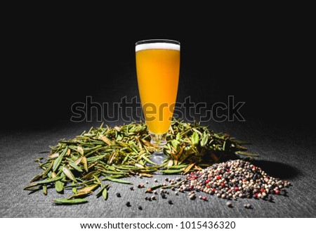 Spicy Home Hazy Brew Beer with Pepper and Labrador tea under Studio Lighting