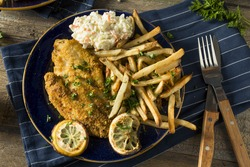 Spicy Homemade BAked  Cajun Catfish with French Fries
