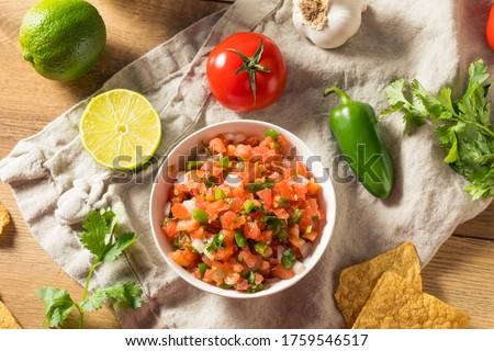 Spicy Homemade Pico De Gallo with Cilantro and Chips Foto stock ©