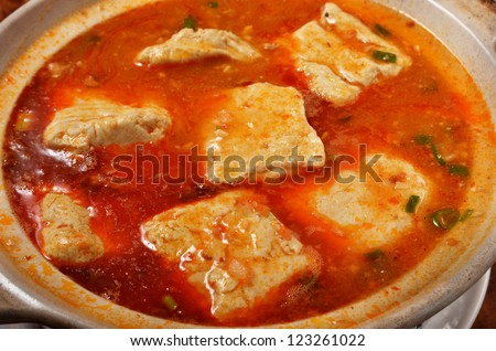 Spicy hot bean curd - a popular dish in Taiwan - stock photo