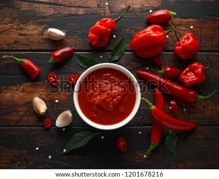 spicy hot chili sauce with mix of chilli pepper, garlic and tomatoes