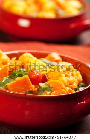 Spicy indian vegetable curry with cauliflower, sweet potato, and carrot