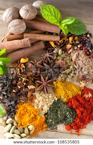 Spicy ingredients, herbs and teas on a wooden table