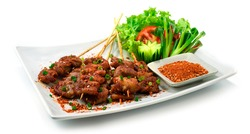 Spicy Mala Pork Intestine skewers Chinese Spice style decorate vegetable and dry dipping Spice sauce sideview