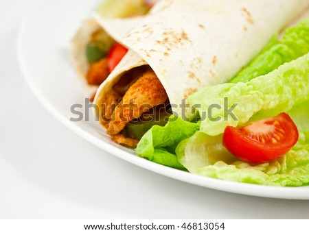 Spicy mexican chicken fajita wraps on a white plate with side serving of spicy salsa, and fresh salad. Photo has short depth of field, and a white background with space for your text.