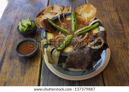 Spicy Molcajete Mexican Dish