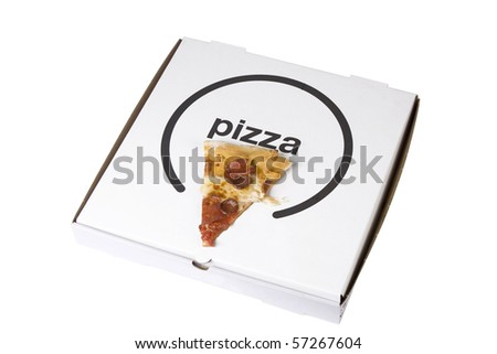 spicy pizza on cardboard box on white background